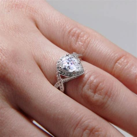 Pear Shaped Engagement Ring by Sterling Silver Pear Shaped Engagement Ring Sacr00010