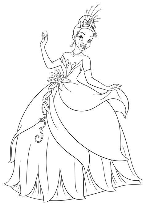 coloring pages princess and the frog disney princess tiana coloring pages coloring home