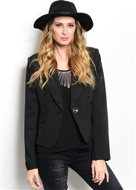 Blazer Black Fashion Single Buttom single button boyfriend fashion blazer in black