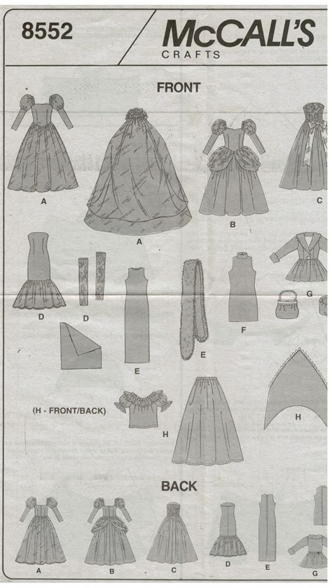 clothes pattern store mccalls pattern 8552 barbie doll clothes wedding gown