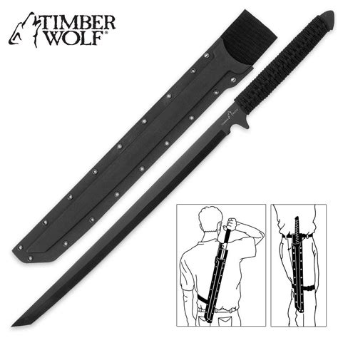 Timber Wolf Full Tang Ninja Sword Machete with Shoulder