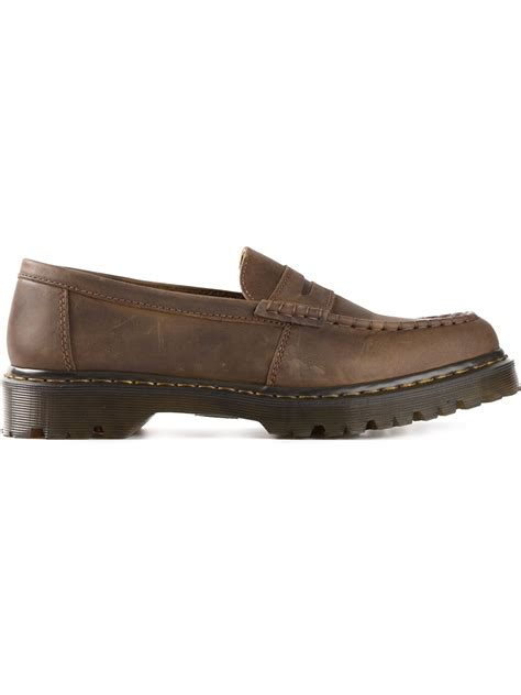 dr martens loafers dr martens chunky loafers in brown for lyst