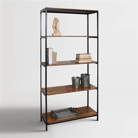 wood and metal williard tall bookshelf storing books