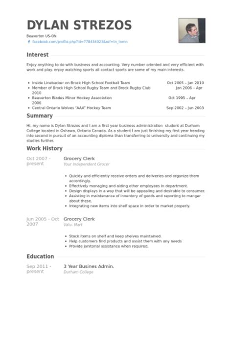 Resume Grocery Store Experience Grocery Clerk Resume Sles Visualcv Resume Sles Database