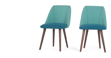 Made Dining Chairs 2 X Lule Dining Chairs Mineral Blue And Emerald Green And Walnut Made