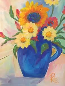 original acrylic blue vase with flowers original