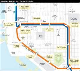 San Diego Trolley Map by San Diego Downtown Metro System Map Trolley Mapsof Net