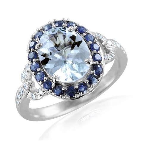 oval sapphire aquamarine engagement ring