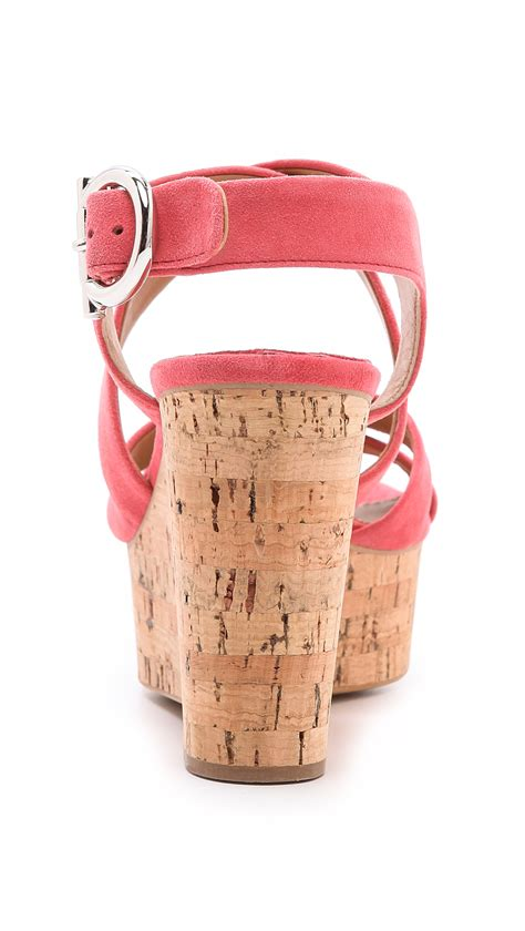 Salvatore Ferragamo Mistico Cork Calfskin Shoulder Bag by Ferragamo Persy Cork Wedge Sandals In Pink Lyst