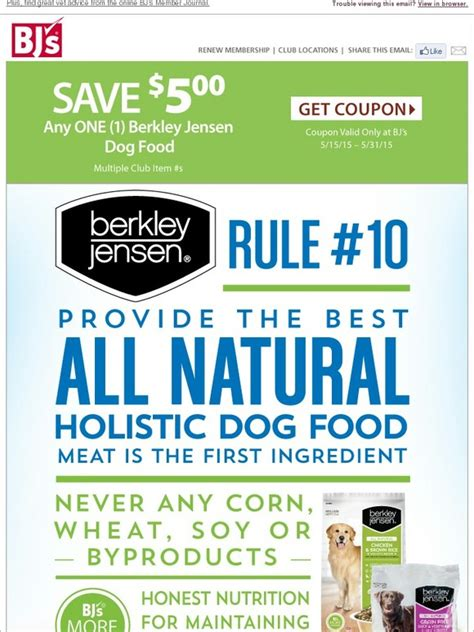 dog food coupons bj s bjs wholesale club 5 coupon save on berkley jensen