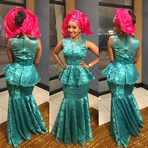 latest ashoebi lace styles aso ebi styles 2016 green and pink colour combinations
