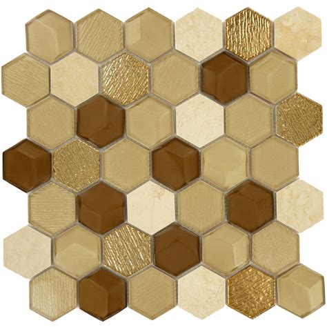 Gold Hexagon Pattern | hexagon gold glass and stone hexagon tile glossy polished