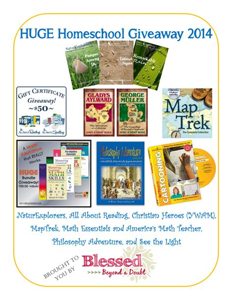 Homeschool Giveaway - huge homeschool giveaway over 350 value