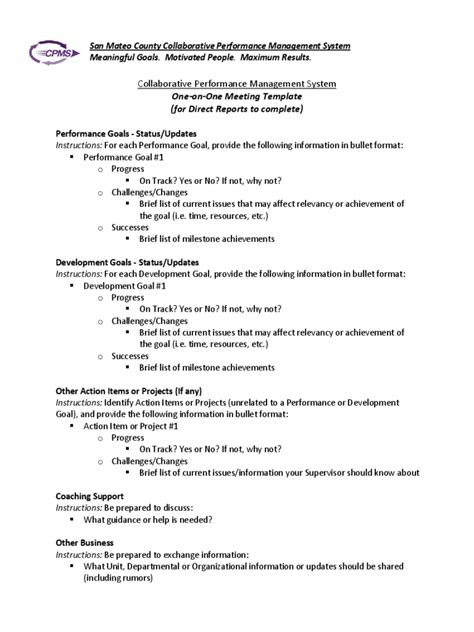 one on one meeting agenda template one on one meeting template professional sle templates