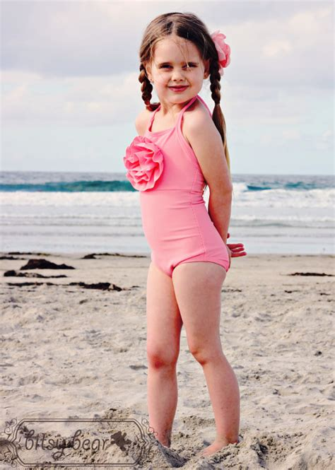 bathing suit little girl beach coral pink halter swimsuit for toddler and girl ready to