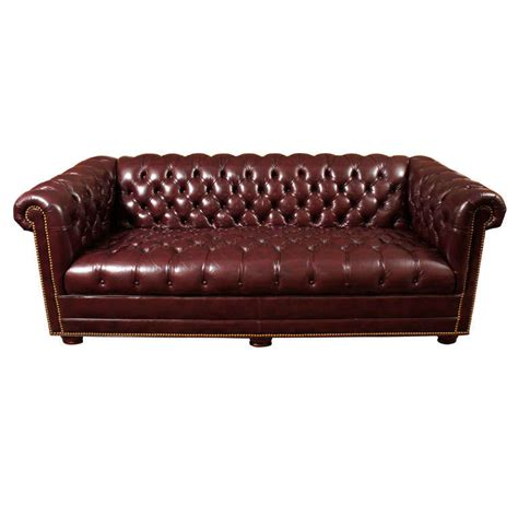 Plum Leather Sofa by Chesterfield Sofa In Merlot Plum Leather With Brass Nails