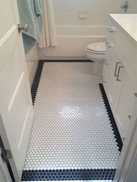 bathtub floor white octagon floor tile with black octagon border