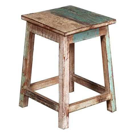 Wood Stool End Table by Appalachian Rustic Solid Reclaimed Wood Square End Table Stool