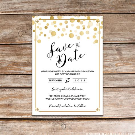modern diy save the date free printable