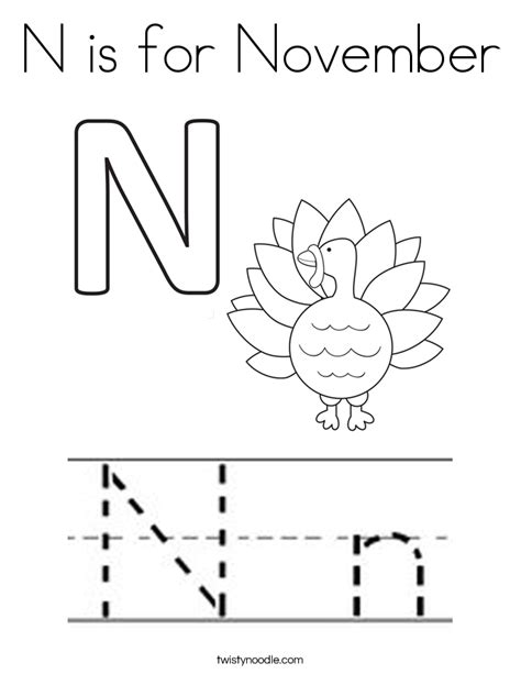 printable coloring pages for november n is for november coloring page twisty noodle
