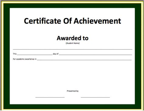 word certificate of achievement template award certificate template for word studio design