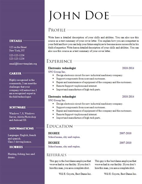Cv Sjabloon Office 2010 Free Cv Resume Templates 495 To 501 Free Cv Template Dot Org