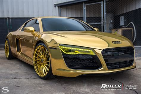 audi r8 gold r8 savini wheels