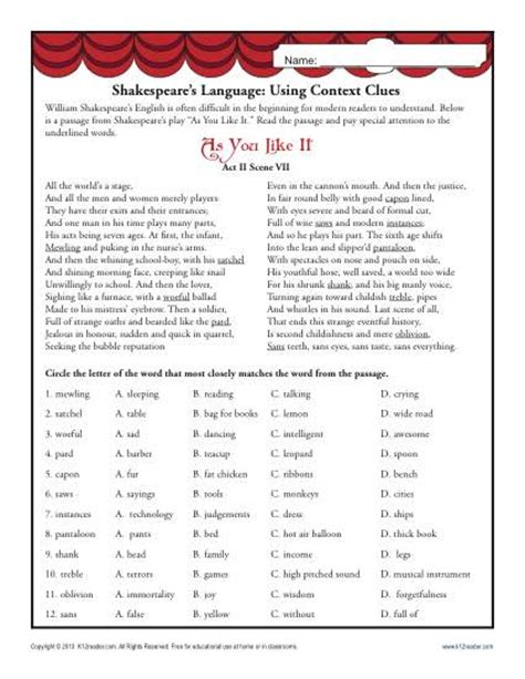 Middle School Vocabulary Worksheets by Shakespeare S Language Using Context Clues Middle