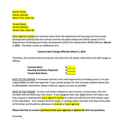 Raise Rent Letter To Tenants Sle Rent Increase Letter 8 Documents In Word Pdf