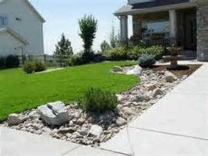 Rock Landscape Front Yard Landscaping Along Driveway Anything Outside