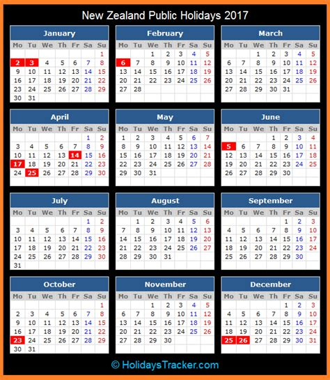 Calendar 2017 And 2018 Nz New Zealand Holidays 2017 Holidays Tracker