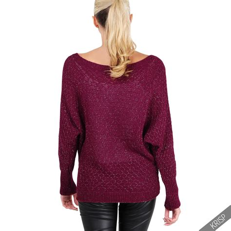 Sweater Casual womens glitter knit oversize batwing jumpers casual