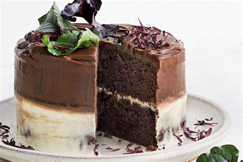 milk chocolate and beetroot cake with ombre icing recipes delicious com au