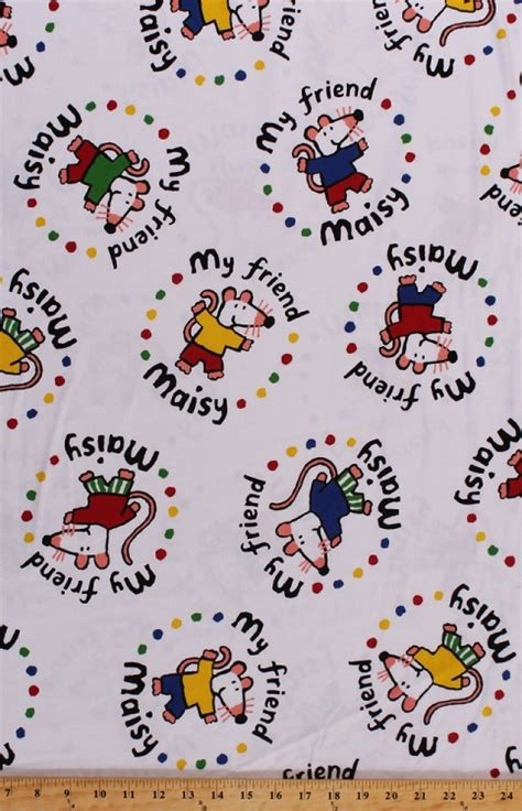 flannel my friend maisy mouse mice on white kids flannel fabric print by the yard po284 f4197 fm