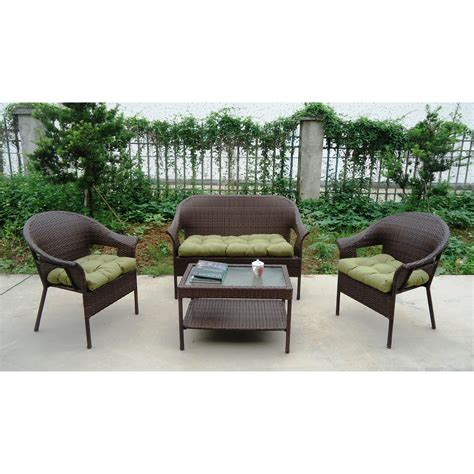 Wicker Trellis winport industries garden trellis all weather wicker 4 lounge seating with cushion