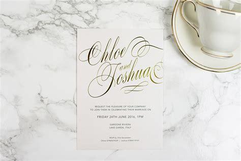 foil pressed wedding invitations uk script invitation the foil invite company