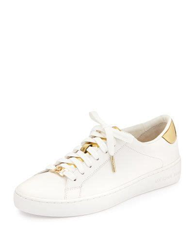 michael michael kors irving leather lace up sneaker optic