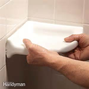 how to install corner shower how to install a corner shower shelf the family handyman