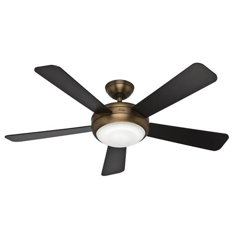 Shop Hunter Palermo 52 In Brushed Bronze Downrod Or Flush Flush Mount Ceiling Fans With Light
