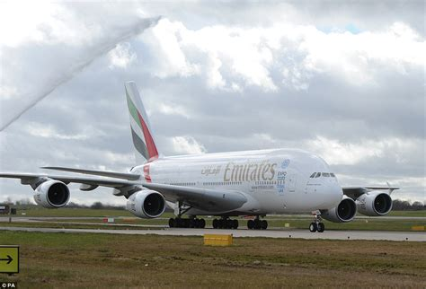decker airbus a380 emirates airbus a380 arrives at birmingham airport for the