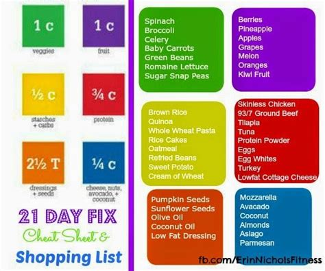 21 day fix color code 21 day fix sheet and shopping list 21 day fix