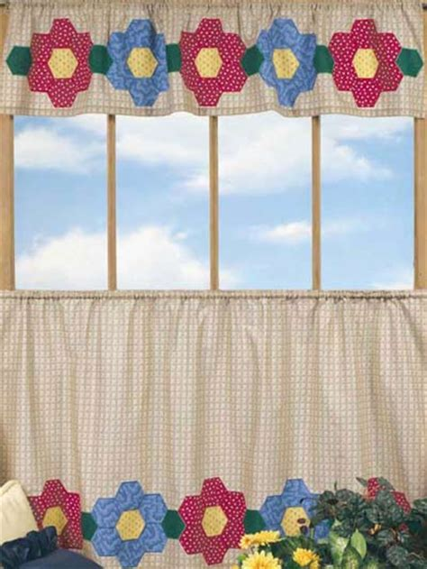 cafe curtain patterns quilting classics grandmother s flower garden valance