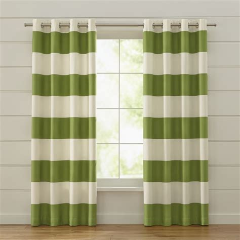Green Striped Curtains Inspiration Alston Ivory Green Striped Curtains Crate And Barrel