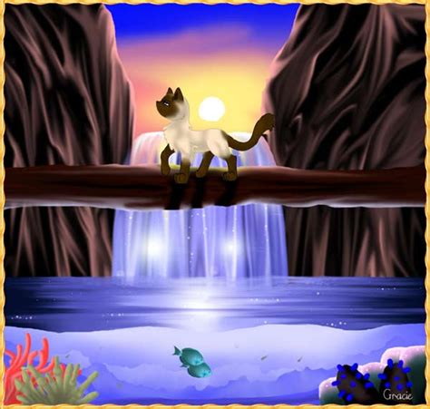 painting computer siamese cat and waterfall original painting computer