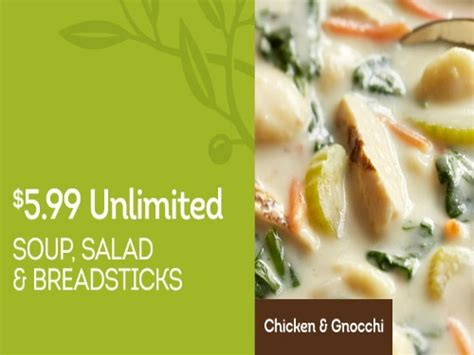 olive garden unlimited soup salad and breadsticks 5 99