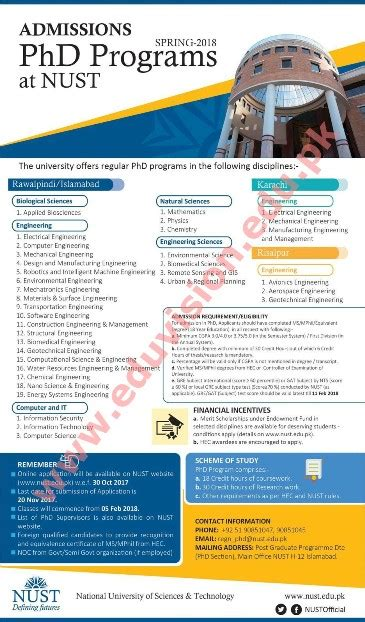Nust Mba Admission by Nust Admission 2017 Doctorate Programs