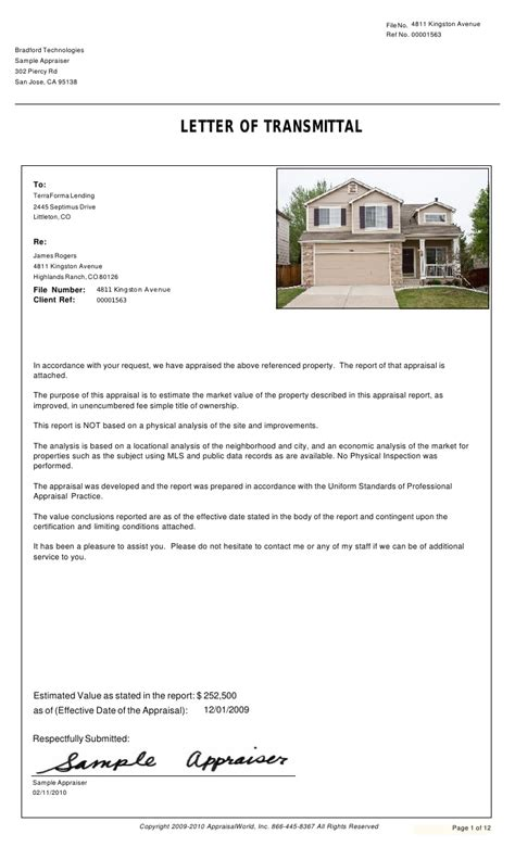 Home Appraisal Letter Appraisal Report Real Estate Appraisal Report Sle