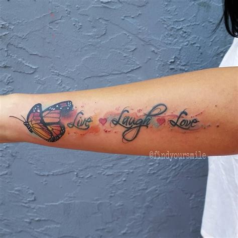 watercolor lettering tattoo live laugh love by russell van schaick abstract