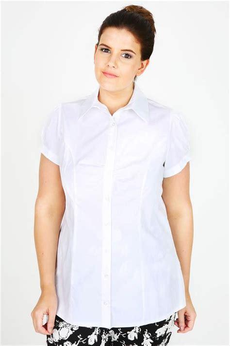 Big Size Dress Ld120 Denim 576 white plain cotton work shirt with ruching detail plus