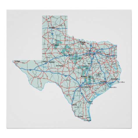 texas map prints texas interstate map print zazzle